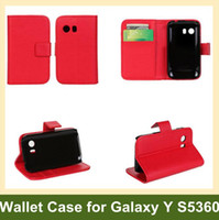 Wholesale Galaxy Y Flip Case Cover - Wholesale New PU Leather Wallet Case for Samsung Galaxy Y S5360 Folding Flip Cover Case for Samsung Galaxy Y S5360 10pcs lot Free Shipping