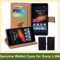estuches billetera xperia z al por mayor-Venta al por mayor de lujo de cuero genuino Flip Cover para Sony L36h (Xperia Z) Funda con tapa para Sony Xperia Z L36h Envío gratis