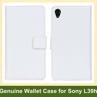 Wholesale Genuine Leather L39h - Wholesale New Genuine Leather Wallet Case for Sony Xperia Z1 L39h Folding Flip Cover Case for Sony Xperia Z1 L39h Free Shipping