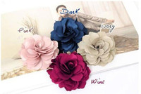 Wholesale Wholesale Flower Brooch Hair Clip - 50x Fashion New Ladies Satin Peony Flower Hair Clip Hairpin Brooch 17 Color Free Shipping