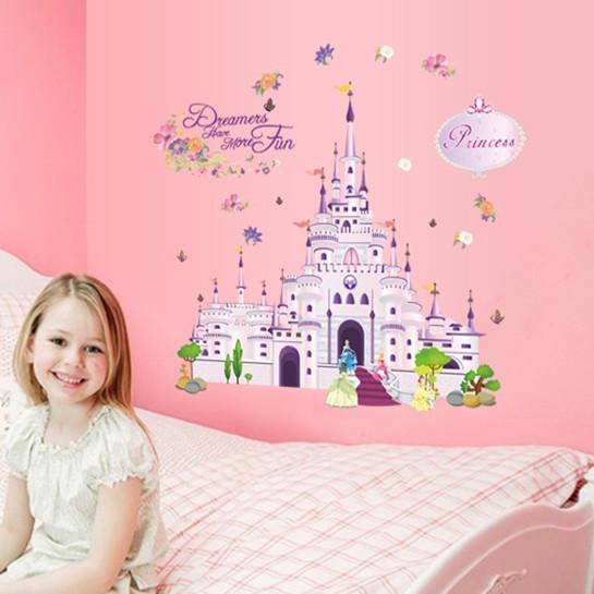 Dream Castle Wall Sticker Cartoon Princess Castle Children\'S Room ...