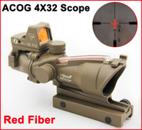 Wholesale Acog Sight 4x32 - ACOG 4X32 Fiber Source Red Illuminated(Real Red Fiber) Scope w  RMR Micro Red Dot Sight Dark Earth