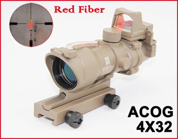 ACOG 4X32 Fiber Source Red Illuminated(Real Red Fiber) Scope w/ RMR Micro Red Dot Sight Dark Earth