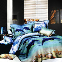 3d Dolphin Starfish Seashell Bedding Bed Set Oil Painting Full Queen Size Reversible Duvet Cover Home Textiles Bed Sheet Comforter Set 4 5pc