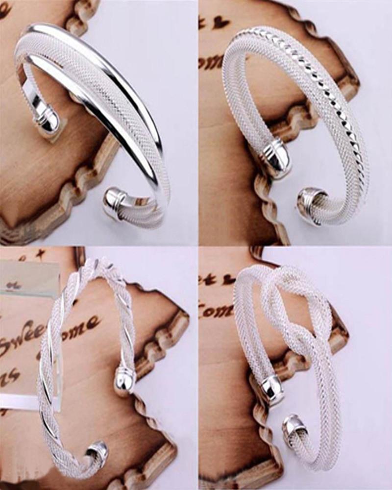 Top Sale 925 Silver Fashion Bangle Bracelets Mix 4 Style Shining Bangle Bracelets Women's Hot sale Jewelry Christmas best gift