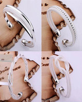 Top Sale 925 Silver Fashion Bangle Bracelets Mix 4 Style Shi...