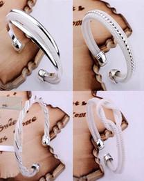 Wholesale Best Shine - Top Sale 925 Silver Fashion Bangle Bracelets Mix 4 Style Shining Bangle Bracelets Women's Hot sale Jewelry 20pcs lot Christmas best gift