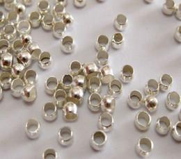 Caliente ! Perlas de latón plateado de latón redondo 2.5mm / 3.0mm / 3.5mm / 4.0mm Crimp End (b174) en venta