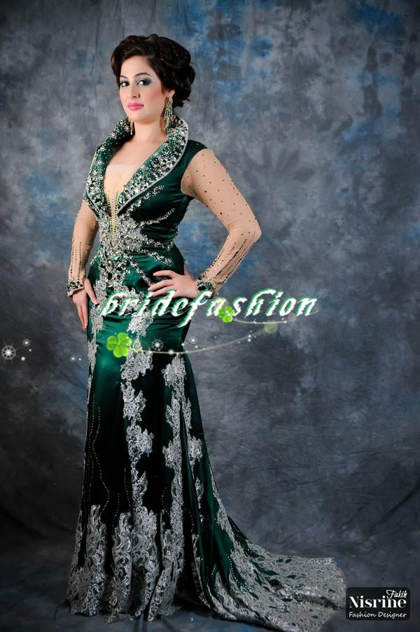 2014 vestidos Red Carpet Dressese Arabic dresses Crystal Evening Dark Green High Neck Satin Prom Myriam fares dresses