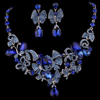Wholesale Crystal Pageant Earrings - Free shipping In Stock Elegant New Style Crystal Rhinestone Luxury Wedding Bridal Party Pageant Jewelry Set Necklace Earring