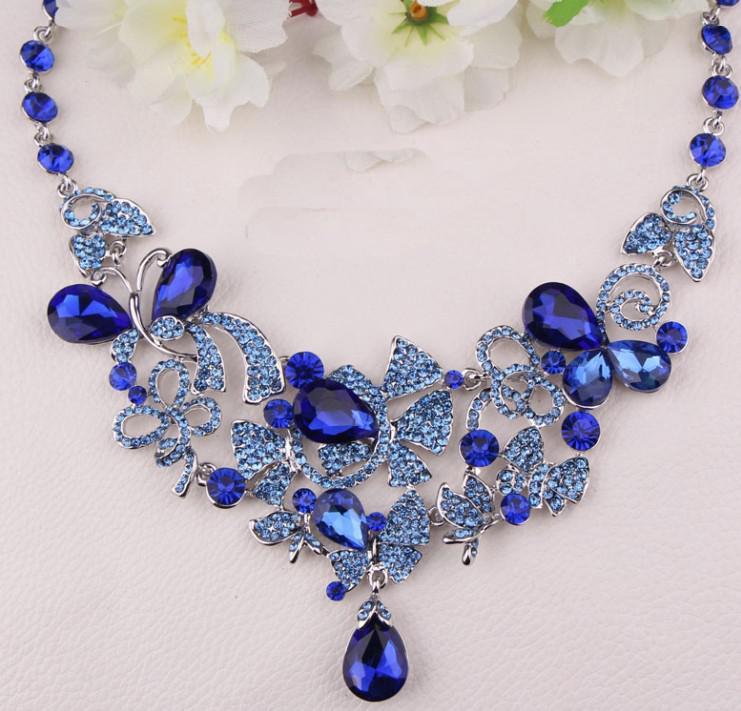 Freies Verschiffen Im Lager der eleganten neue Art Kristall Strass Luxus Brautpartei-Festzug-Schmuck-Set Halskette Ohrring
