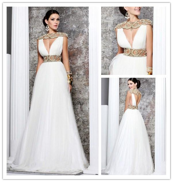 2014 Grecian Goddess Style White Prom Dresses Pearls ...