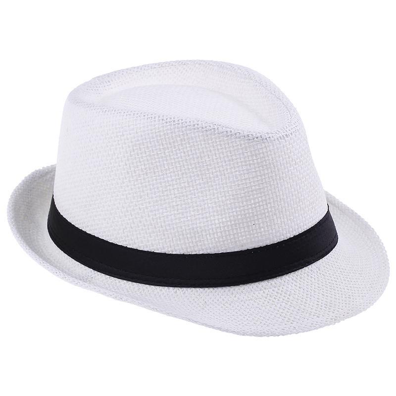 Hot Sell Unisex Straw Panama Fedora Hats White Stingy Brim Casual Travel Caps ZDS1