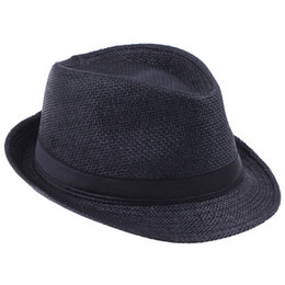 5055777cb7e Unisex Straw Panama Fedora Hats Soft Stingy Brim Casual Travel Sun Caps  10pcs lot ZDS2