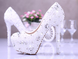 Wholesale 14cm heels white - White Elegant Honeymoon Imitation Pearl Wedding Dress Shoes Gorgeous Bridal Shoes 14cm Super High Heel Dress Shoes Free Shipping