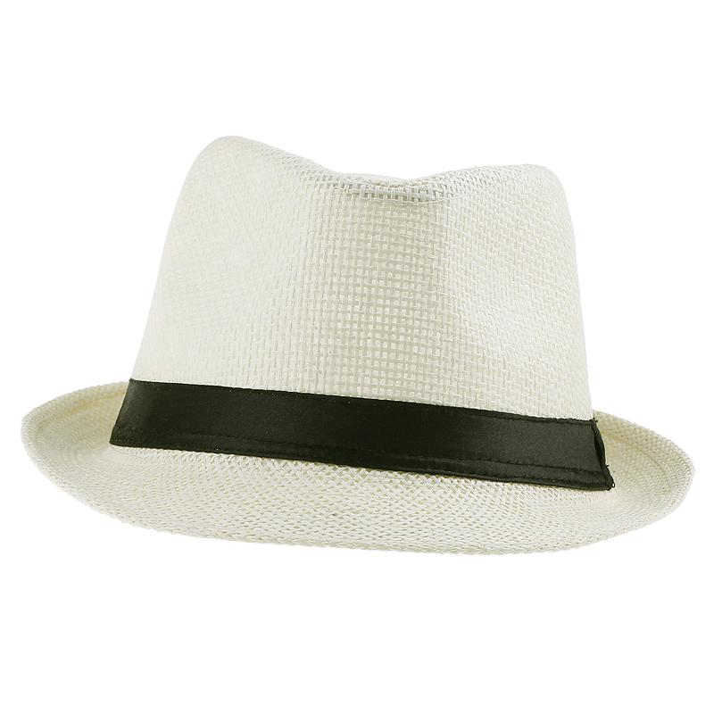 Hot Sale Straw Fedora Hats Summer Soft Casual Stingy Brim Beach Sun Caps 10pcs/lot ZDS6