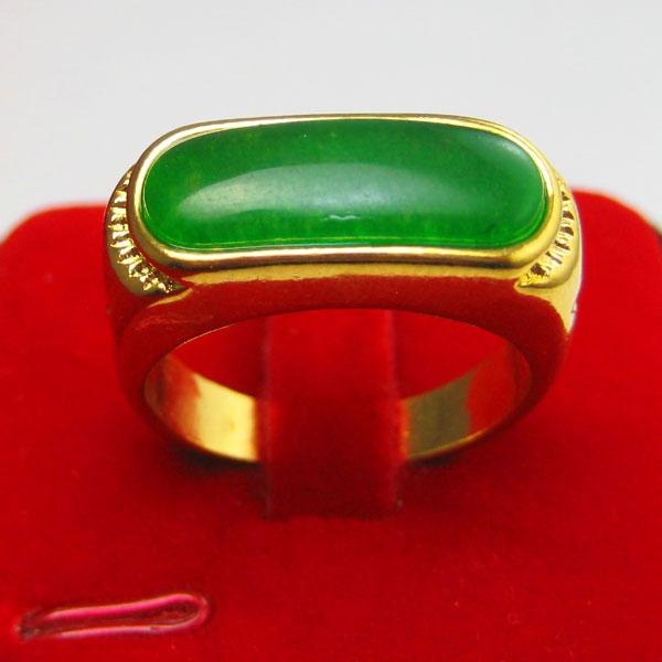Gold ring men do not fade inlaid jade 18k gold plated for Does gold plated jewelry fade