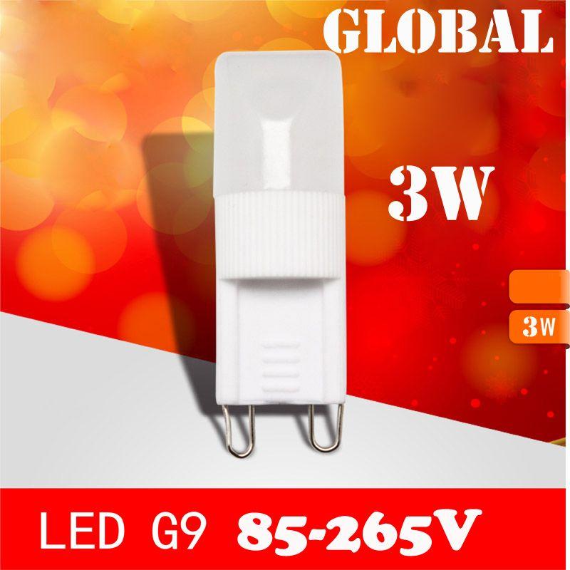 Luz CONDUZIU a vela Dimmable lustre de cristal lâmpadas G9 CONDUZIU a lâmpada 3 W contas pardew cerâmica 85-265 v branco puro quente branco 2015 Via DHL