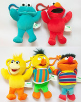 Wholesale Elmo Stuffed Keychain - 20pcs lot Colorful Sesame Street Elmo Stuffed Plush Dolls Toys Keychain 5.2 inch