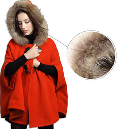 Wholesale Womens Hooded Fur Cape - S5Q Womens Hooded Poncho Cape Coat Winter Warm Fur Shawl Wool Coats Cloak AAACQH