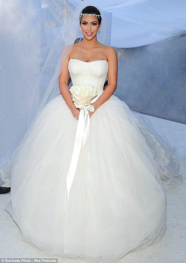 Strapless Corset Kim-kardashian Bridal Dresses Appliques Tulle Fluffy 2014 Ball Gown Celebrity Wedding Dresses