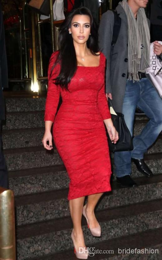 Na venda! Kim Kardashian Vintage Impressionante Bainha Quadrada Mangas Compridas Comprimento Chá Vermelho Comprimento Cocktail Vestidos de Festa Vestidos Curtos Vestidos de Celebridades