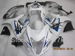 Wholesale Hayabusa Fairing White Silver - Free tank cover 08 09 Fairings kit For Suzuki GSX1300R Hayabusa 2008 2009 White Silver and Blue Stripes Bike Bodyworks fairing