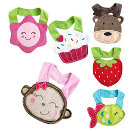 Wholesale 3d Cartoon Towel Baby - Bibs & Burp Cloths-Baby Bibs Infant 3D Cartoon saliva towels 3-layer waterproof Baby Feeding Animal Button bibs