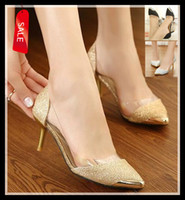 Barato Toes Clear Pumps-Sexy Gold Silver Black Glitter Night Club vestido ShoesTransparent Clear Pointed toe Kitten Heels Bombas 3 cores ePacket Frete Grátis