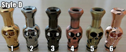 Wholesale Ego C Heads - E-Cig Drip Tip 510 with Skull Style Metal Mouthpiece Skull Head Shape Drip Tip for ego-t ego-c ego-vv Electronic Cigarette