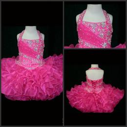 Wholesale Halter Top Glitz Dresses - Halter Top Little Rosie Cupcake Dress Lovely Glitz Toddler Pageant Dress Flower Girl Gown Kids Prom Dresses SR262