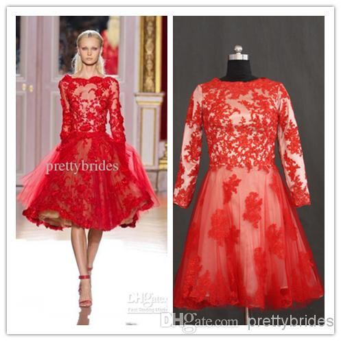 Red cocktail dresses with long sleeves