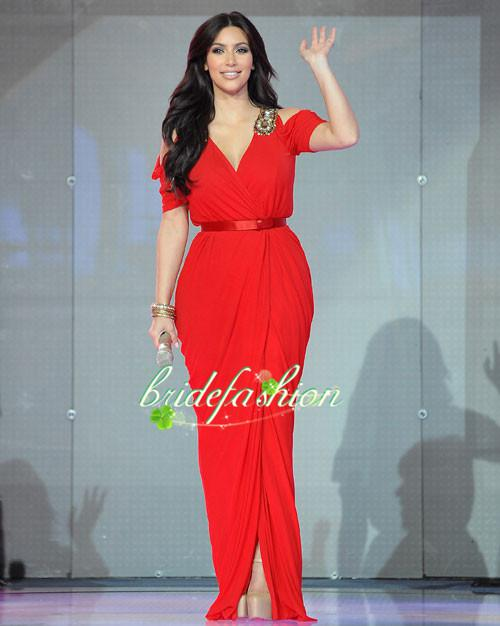 Kim Kardashian Red Dress In Dubai Celebrity Long Chiffon Prom Gown Celebrity Dress Formal Gowns Evening Dresses