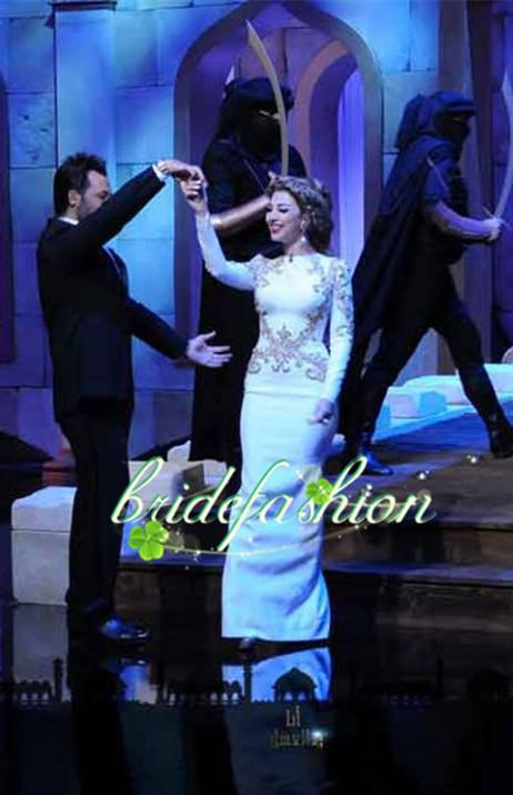 Arabia Sexy Singer Myriam Fares Dresses Round neck With Beaded Sheath Floor length Satin Long Sleeves Evening Celebrity Dresses