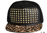 Wholesale Spike Baseball Hats - Leopard Brim Studded Baseball Hats Gold Spike Studs Snapback Cap Adjustable Ball Hat Men Black Hats Punk Style Rivet Hats Hiphop Headwear
