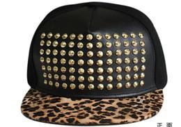 Wholesale Riveted Spike Caps - Leopard Brim Studded Baseball Hats Gold Spike Studs Snapback Cap Adjustable Ball Hat Men Black Hats Punk Style Rivet Hats Hiphop Headwear