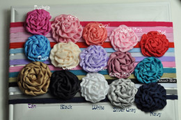 $enCountryForm.capitalKeyWord Canada - Rolled Flowers Satin Fabric Flowers Headband Matching Rosette Nylon Elastic Baby Girl Headband 60pcs lot QueenBaby Trial Order