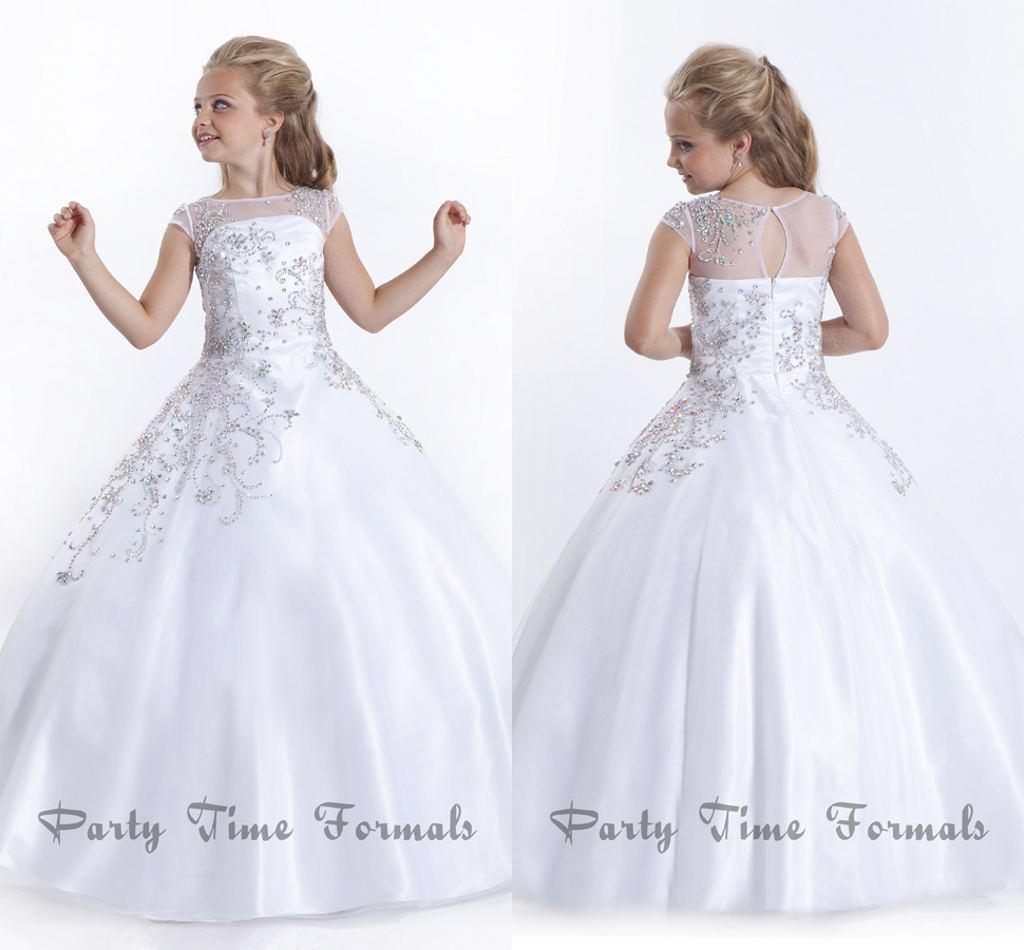White 2014 Flower Girl Dresses Jewel Sweep Train Glitz Girl's ...