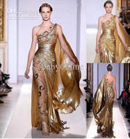 Wholesale couture evening gowns - Zuhair Murad One shoulder Gold Pageant Gown 2015 Haute Couture Appliques Shine Prom Evening Dresses 2015 Formal Dresses For Women Party 9390