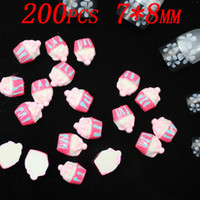 Wholesale Nails Art Ice Cream - ice-cream styles Resin material 3d nail art stickers DIY 200pcs style free shipping and wholesale