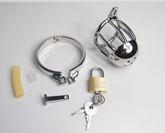 Kortstorlek Man Rostfritt Stål Bondage Cock Cage Penis Ring Chastity Belt Enhet Vuxen BDSM Sexleksaker 926