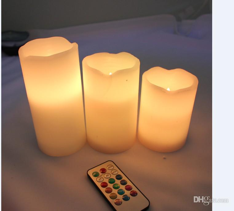 Free Shipping 30pcs/10set (4'', 5'', 6'' inch) colorful Flameless LED candle light Remote Control,Pillar Wax LED Candle lamp by DHL