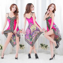 Wholesale Ethnic Lingerie - lingerie Ladies sexy underwear fashion Ethnic silk pajamas sexy deep V dress straps big fat MM queen dress code