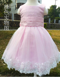 Wholesale Korean Silk Short Dress - Girl's Pageant Dresses New Fashion pink white color Korean Children Clothing Beautiful Girls Lace party Princess Dresses Kid Baby Clothes