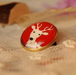 Tono rojo ciervos blancos para niños broches de Navidad Animal Pins 20mm xz30 en venta