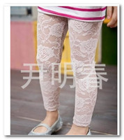 Wholesale hot girls tight clothes for sale - Group buy Hot sell Children full lace leggings girls flowers princess leggings kids clothing white black piece