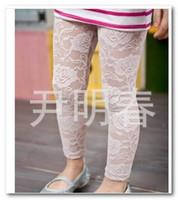 Wholesale Girls Black Lace Tights - Hot sell Children full lace leggings girls flowers princess leggings kids clothing white black 9piece lot 2552
