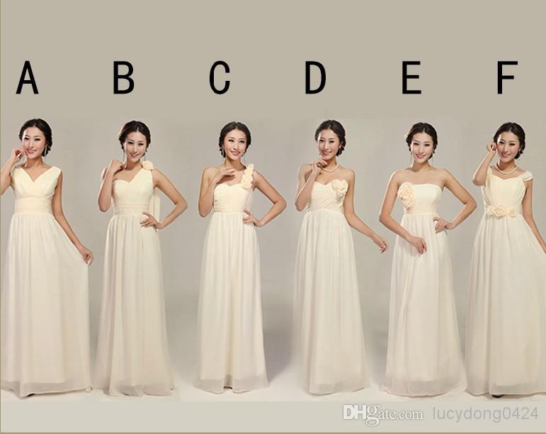 New 6 Styles Custom Made Cheap Elegant Hand Made Flowers Chiffon Floor Length Bridesmaid Dresses /Wedding Party Dresses
