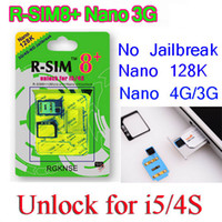 Wholesale Iphone Unlock Uk - Green R-SIM8+ R SIM 8 sim8 RSIM Dual sim unlock for iphone5 + iphone4s ios7 6.1.4 ios 7.0.4 7.0.3 ATT-MOBILE SPRINT UK O2 TELCELL NEX