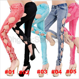 Wholesale Purple Ladies Jeans - 1piece Sexy Low Waist Jeans Women's Fashion Hollow Out Bowknot Skinny Bow Pencil For Lady